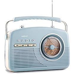 oneConcept NR-12 radio (modelo imitación años 50, receptor AM / FM / HF / LF, sintonizador de canales diseño ojo de buey, asa, funciona también a pilas) - azul
