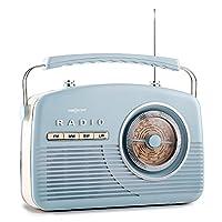 oneConcept NR-12 �?? Nostalgia Portable Radio �?? Retro Radio �?? 1950s Retro Design �?? FM/AM Receiver �?? Tone Control �?? Telescopic Antenna �?? Round Frequency Display �?? Battery or Mains Operation �?? Baby Blue