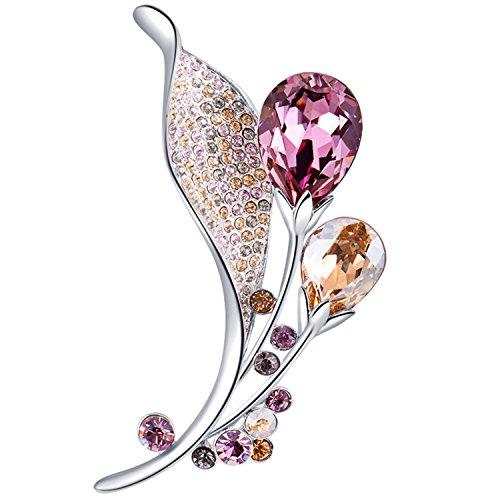 Damen Perlen Broschen, GAEA H Blumen Broschen mit Kristall aus Swarovski Kristall Broschen Anstecknadeln für Frauen mit Geschenkbox