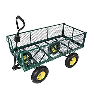 Chariot à chariot de jardin, filet en métal de transport de 4 roues, plate-forme de cage comprenant le cadre et la doublure verte, 300kg