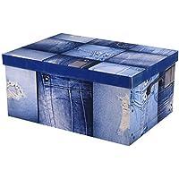 Aufbewahrungsbox Box Ordnungsbox Pappe Karton Deko-box mit Deckel und Hand-griff 37x31x16cm modern verspielt bunt Jeans preisvergleich bei kinderzimmerdekopreise.eu