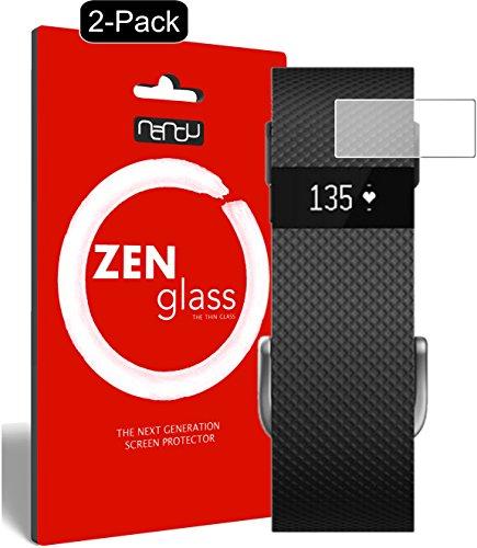 nandu I ZenGlass [2 Stück] Flexible Glas-Folie für Fitbit Charge/Charge HR Panzerfolie I Bildschirm-Schutzfolie 9H