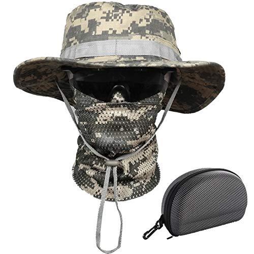 QMFIVE Gläser Taktische Boonie Hut Schal Unisex Camouflage Abgerundete Hut Fischer (Airsoft-schutzbrillen Acu)
