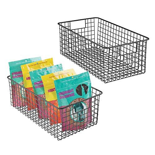 mDesign 2er-Set Allzweckkorb - der flexible Aufbewahrungskorb für die Küche, Vorratskammer etc. - kompakter und universeller Drahtkorb mit Griffen - mattschwarz