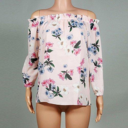 WOCACHI Damen Frühling und Herbst Tops Mode Frauen langes Hülsen reizvolles  weg vom Schulter Blumen gedrucktes süßes Rosa Tops Blusen TShirt Hemd Rosa