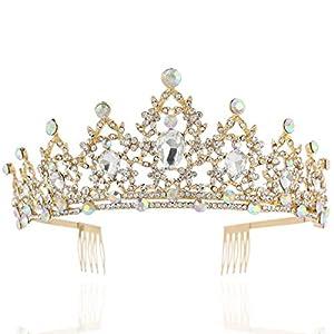 Coucoland Braut Tiara Hochzeit Krone Luxus Prinzessin Diadem Kristall Geburtstag Krone Damen Kostüm Accessoires
