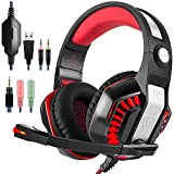 Gaming Headset, Tophie® GM-2 Over-Ear Stereo Kopfhörer mit Mikrofon und LED Licht für Xbox One PS4 PC Computer Tablet Mobile Phone (Rot)