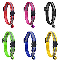 6 Pack Reflective Cat Collars with Bells and Safety Release Cat Collars Adjustable 19-32cm