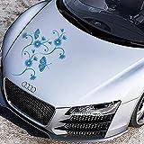 JINTORA Adesivi - Bumper Sticker Fiore Viticcio Tina 50cm x 50cm Blu Chiaro - Automobile di Finestra Posteriore di Tuning Carystyling