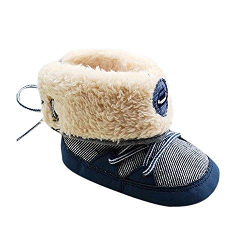 ROPALIA Kleinkind Baby Boy Girl weichen alleinige warmen Pelz Schnee Stiefel Blue