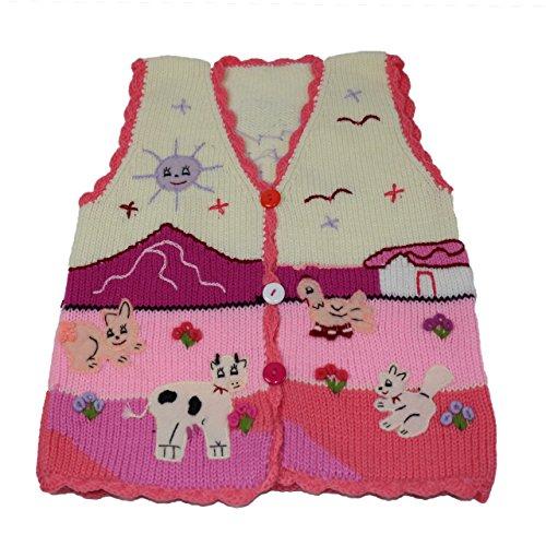 Sunny Times Kinder Strick Weste aus Peru, Handgefertigt aus Wolle, Größe 74 – 104, Verschiedene Farben (98/104, Creme/Pfirsich)