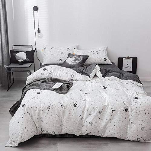 SN4F Plaid Bettwäscheset Bettbezug aus Baumwolle Leicht zu reinigendes Bettwäscheset @ SL-05_Double