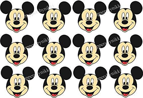 12x Essbar Mickey Mouse Faces ungeschliffen Zuckerguss Kuchen Cupcake Topper (Maus Mickey Backen)