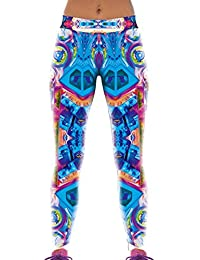 Lovelife' Women Abstract Pattern Digital Printed Yoga Workout Capri Leggings