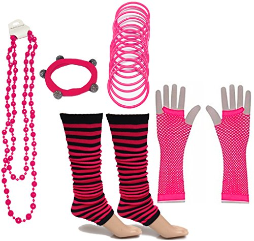 A-Express 80er Damen Neon Streifen Beinstulpen Handschuhe Halskette Shamballa Tüll Fluo Ballett Verkleidung Party Tutu Kostüm - 80er Jahre Arbeit Aus Kostüm