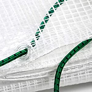 STI Telo Bianco Trasparente occhiellato retinato Antivento antistrappo Anti UV Misura 4x6 mt