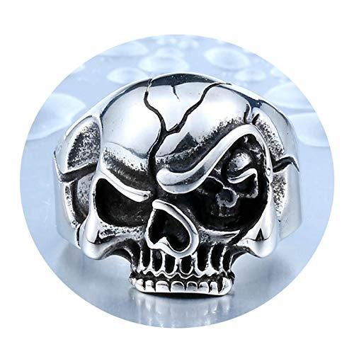 Amody Anillo Punk gótico para Hombre Cabeza de cráneo Punk Plata Anillo de Acero Inoxidable para Hombre Tamaño 22