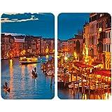 WENKO 2521343100 Cubierta de cocina Universall Venice by Night - juego de 2 piezas para todos los tipos de cocinas, Vidrio endurecido, 30 x 1.8-4.5 x 52 cm, Multicolor