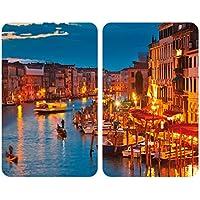 Wenko 2521343100 Couvre-Plaque Verre Universelle Motif Venice by Night Dimensions 52 x 30 x 4,5 cm Lot de 2