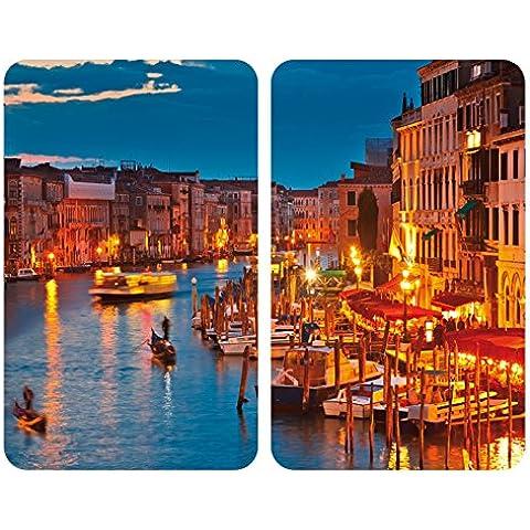 WENKO 2521343100 Cubierta de cocina Universall Venice by Night - juego de 2 piezas para todos los tipos de cocinas, Vidrio endurecido, 30 x 1.8-4.5 x 52 cm,