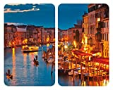 Wenko 2521343100 Couvre-Plaque Verre Universelle Motif Venice by Night Dimensions 52...