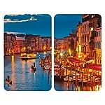 Wenko Coprifornelli Universal Venice By Night, Set 2 Pezzi per Tutti i Tipi di Piani di Cottura, Vetro Temperato, Materiale Plastico, 52 x 1,8-4,5 x 30 cm, Grigio Chiaro