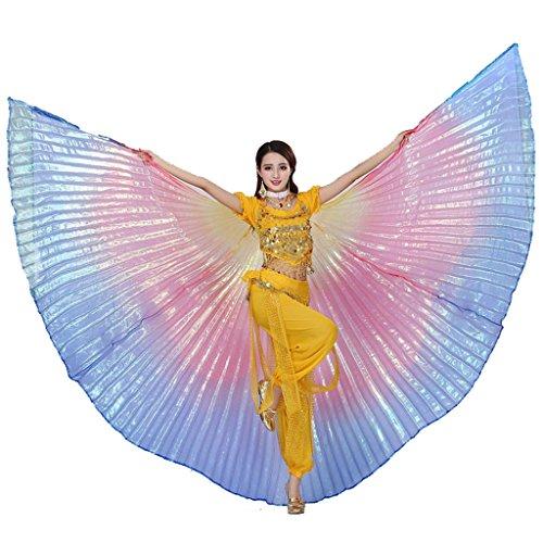 Wuchieal Bauchtänzerin Isis Wings Halloween Darstellende Angel Wings für Carnival Einschließlich Stöcke/Tasche (Regenbogen, One Size) (De Halloween Angel)