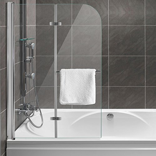 Homelux Badewannenaufsatz Badewannenfaltwand Faltduschwand (B x H) 95 X 140 cm, Sicherheitsglas 6 mm mit Lotuseffekt