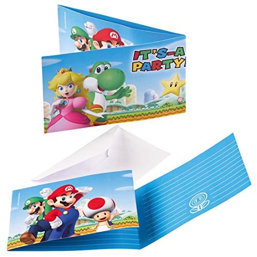 NET TOYS 8 Einladungskarten mit Umschlägen Super Mario Brothers | ca. 14 x 8 cm | Originelle Party-Deko Einladungskartenset | Genau richtig für Kindergeburtstag & Kinderfest
