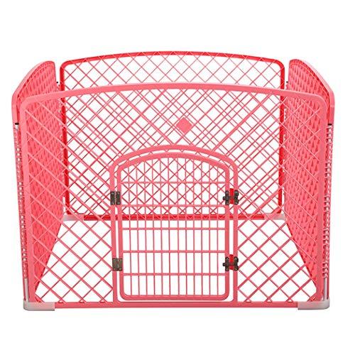 JGHH Pet-isoliert Mesh-4-Tür-Haustier-Zaun mit Türen für Holz Sicherheitstüren für kleine und mittlere Tiere,Rosa