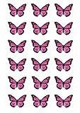 18farfalle monarca rosa. Queste farfalle sono stampate su fogli di cialda commestibili con inchiostro alimentare e hanno le dimensioni perfette per essere usate come decorazione sui cupcake.  Per utilizzare le decorazioni a forma di farfalla...
