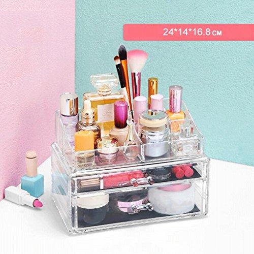 UOMUN Étui de Maquillage Étui de rangement de maquillage Cosmetic Organizer Storage Rack de bijoux Big Space Clear 2 Tier Porte-brosse multifonction Dressing Table