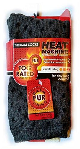 Chaussettes thermiques Heat Machine pour homme avec doublure en fourrure chaude + aimant avec citation inspirante - - Large