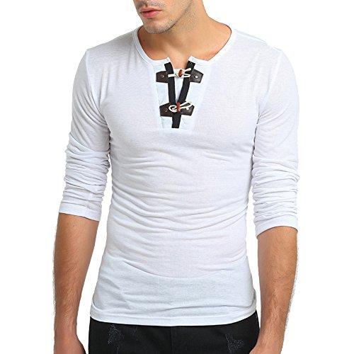 DNOQN T Shirt Lang Slim Fit Pullover Herren Herren Herbst Reine Farbe Langarm Pullover Verschluss Sweatshirts Top Bluse 2XL