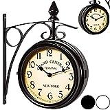 Reloj de pared estilo vintage retro 'estacion tren' doble cara - dos movimientos - hierro forjado- Reloj estilo industrial