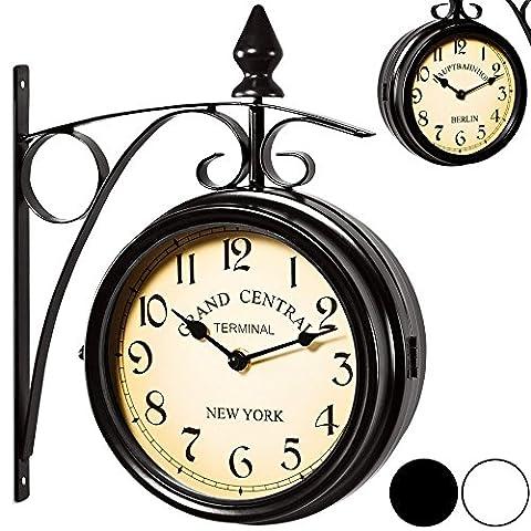 Horloge de gare noire à double sens - Montre murale