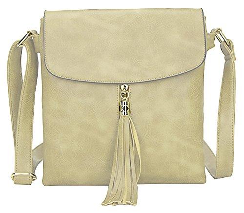 Big Handbag Shop Damen, mittelgroß, trendige Messengertasche, Schultertasche, Umhängetasche Design 4 - Beige