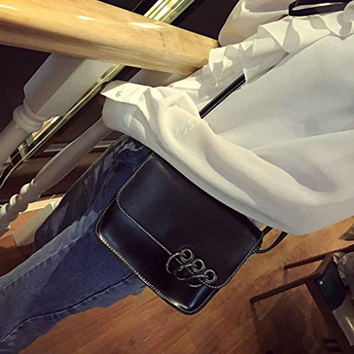 Miaomiaogo Sacchetto di spalla di cuoio dell'unità di elaborazione di tre cerchini della borsa quadrato della borsa del messaggero delle donne quadrate verde
