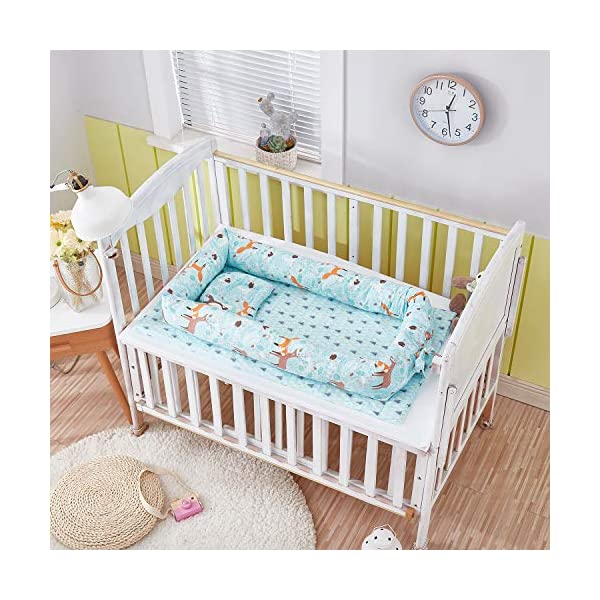 TEALP Multifunctional Baby Nest Blue Bear Fox, Baby Bassinet for Bed/Lounger/Nest/Pod/Cot Bed/Sleeping, Breathable & Hypoallergenic Cotton (0-24 Months) TEALP 【Breathable and Hypoallergenic Cotton】hypoallergenic materials, breathable and non-toxic. We use 100-percent cotton fabric and breathable, hypoallergenic internal filler, which is safe for baby's sensitive skin. It will give your child serene, safe, and sound sleep in their lovely co sleeping crib. 【Adjustable Design】1 baby nest, 90x55x15cm;1 pillow30x30cm, Suitable for 0-24 Month. GROWS WITH YOUR BABY. Being adjustable, the side sleeper grows with your baby. Simply loosen the cord at the end of the bumpers to make the size larger. The ends of the bumpers can be fully opened. 【Multifunctional and Portable】 Use the infant nest as a bassinet for a bed, baby lounger pillow, travel bed, newborn pillow, changing station or move it around the house for lounging or tummy time, making baby feel more secure and cozy. 3