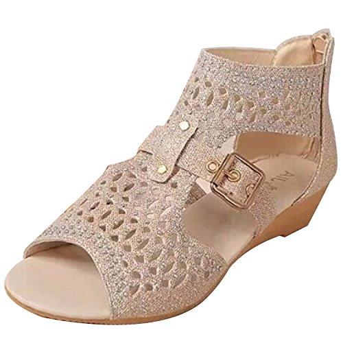 Azbro Women's Peep Toe Hollow out Wedge Heels Sandals Light Golgen