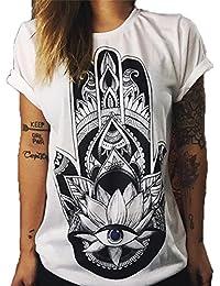 Hippolo Damen T-Shirt weiß Baumwolle mit Schöne Blume Aufdruck (M, 4)