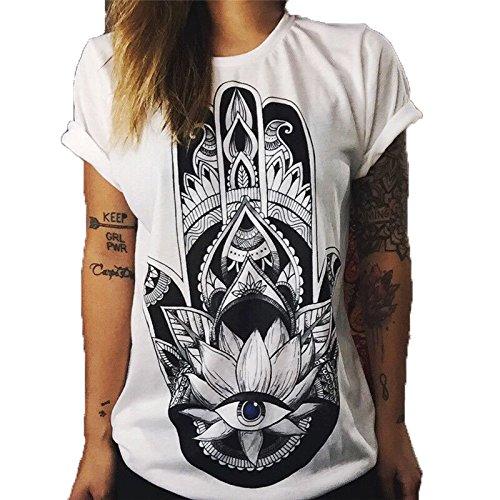 Hippolo Damen T-Shirt weiß Baumwolle mit Schöne Blume Aufdruck (L, 4)