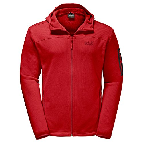 Preisvergleich Produktbild JACK WOLFSKIN Herren Fleecejacke CASTLE ROCK HOODED JACKET,  ruby red,  XXL,  1705181-2505006