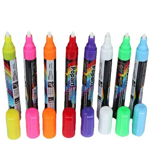 SEGRJ Sale! 8 Farben in 8 Stück 3 mm Flüssigkreide fluoreszierende Marker, Textmarker für Etiketten, Tafel, Bistro, Fenster, Glasschild 8 8 -