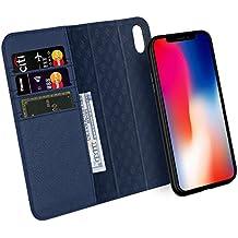 Custodia iPhone X, ZOVER Staccabile Pelle Portafoglio Custodia Con la funzione Auto Sleep / Wake, Supporta la ricarica wireless, Supporto magnetico per auto, Chiusura Magnetica - Blu navy