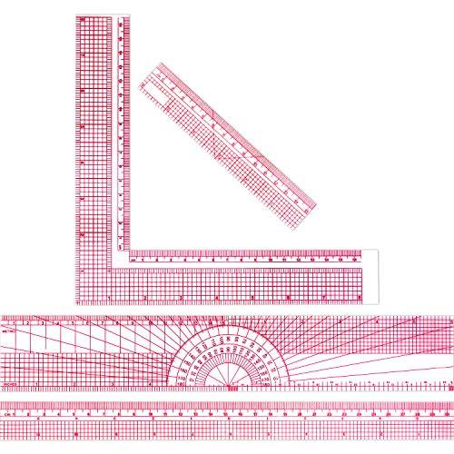 Regla plástico transparente biselada de 4 piezas Regla métrica plástica con regla de 2 escalas para el estudio costura ingeniería,12 pulgadas/30,48 cm,8 pulgadas/20,5 cm,6 pulgadas/15,3 cm