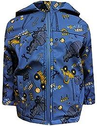 Outburst - Baby Jungen Softshelljacke Regenjacke mit Kapuze Baustellen-Motiv wasserabweisend, blau - 8472409
