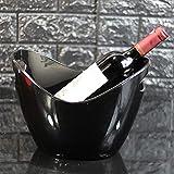 JLCP Eis Schaufel Kunststoff Ice Pellet Barrel Familienfeier Picknick Reise-Bar Wein Cocktail Kühler Platte Speichergerät 8L,Black