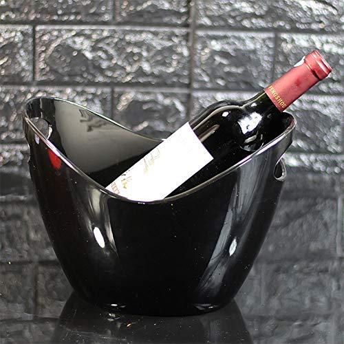 JLCP EIS Schaufel Kunststoff Ice Pellet Barrel Familienfeier Picknick Reise-Bar Wein Cocktail Kühler Platte Speichergerät 8L,Black (Wein-kugel-kühler)