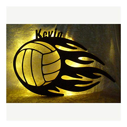 Schlummerlicht24 Led Holz Deko Nachtlicht Lampe Volley-Ball mit Name-n Geschenk-e für Ballsport-Fans Frau-en Mädchen Jung-en Männer Mann Schlafzimmer Wohnzimmer Sport Zubehör Geburtstagsgeschenk-e